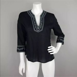 GAP EMBROIDERED NECKINE & CUFFS PEASANT BLOUSE